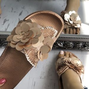 Shoes - Rose Gold Flower Embellished Slides| MAKE A OFFER